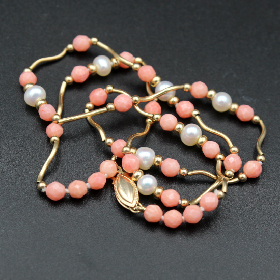 angel skin coral beads with pearls and gold spacers