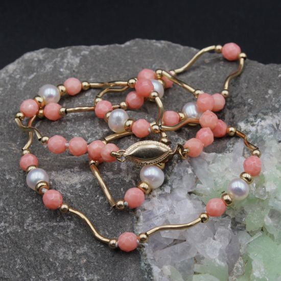 gold coral necklace with cultivated pearl jewels