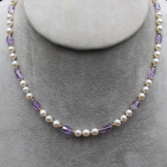 pearl and amethyst necklace unique stone jewels