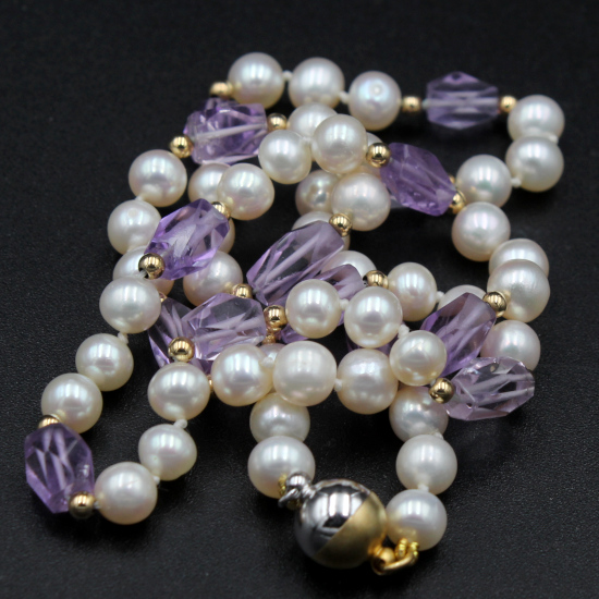 amethyst faceted baguette beads with pearl necklace and gold spacers