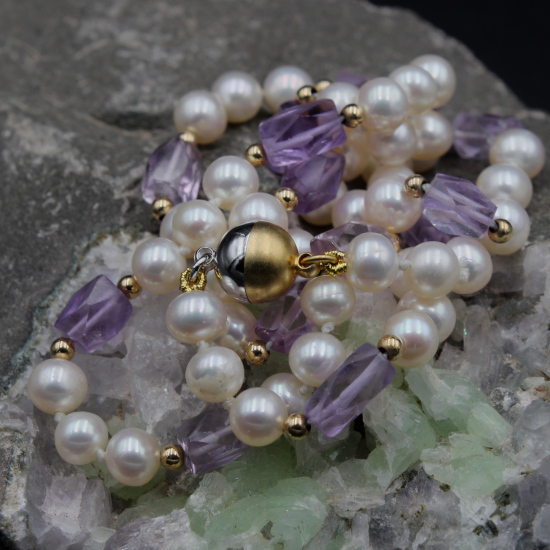 cultured pearl and amethyst beaded jewelry jewellery with gold magnetic clasp
