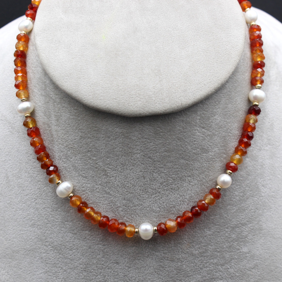 carnelian and pearl necklace jewelry