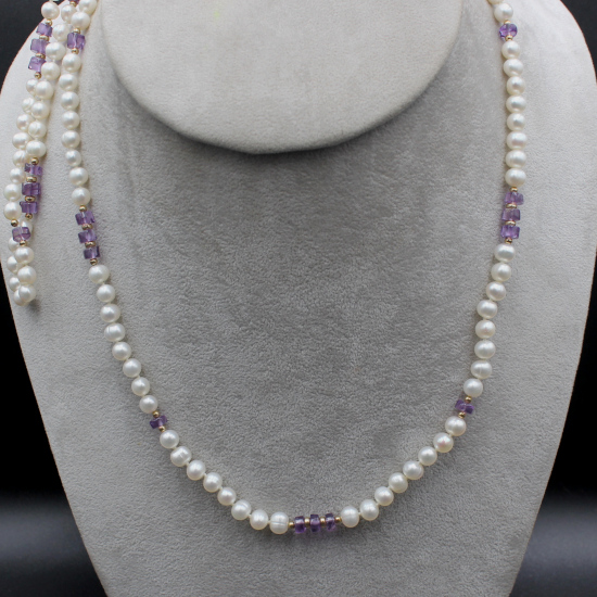 6mm cultured pearl and amethyst beads necklace
