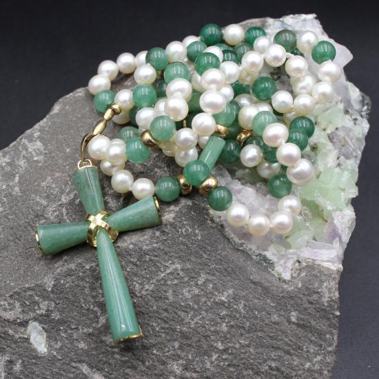 aventurine cross pendant with aventurine beads and pearls