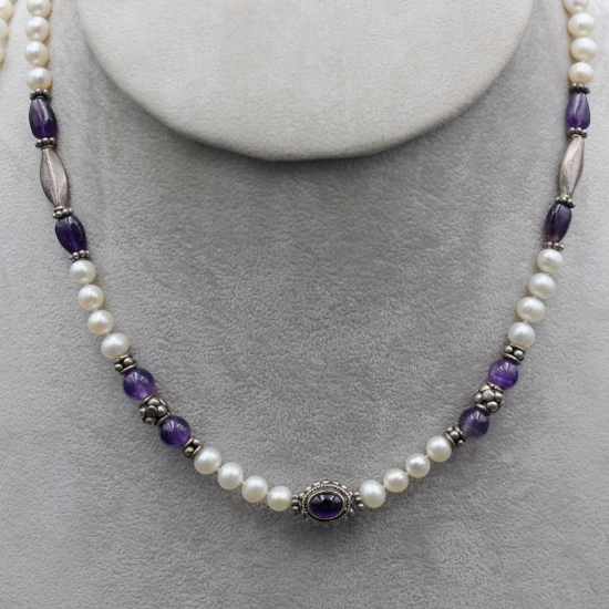 pearl and amethyst necklace with Indian silver spacers and a amethyst cabochon pendant
