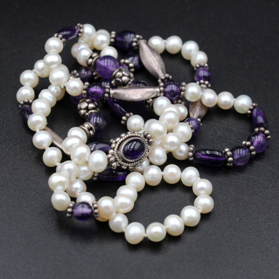 pearl and amethyst necklace with Indian silver