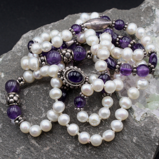 5mm cultured pearls with amethyst cabochon beads and Indian silver