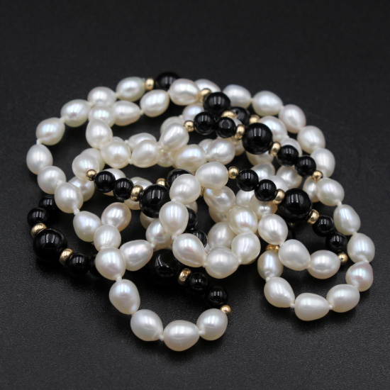 potato pearl and onyx necklace