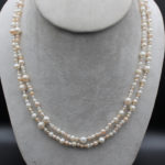 mixed pearl necklace with gold clasp