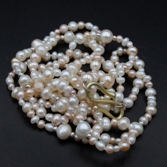 8mm cultured pearl mixed color necklace