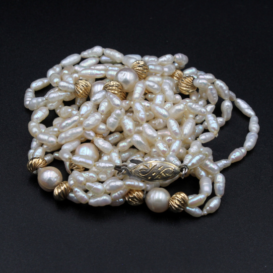 cultured rice pearl and gold spacer necklace