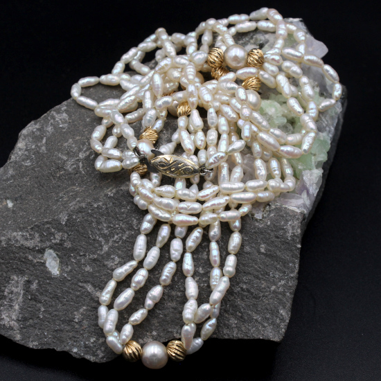 multi string cultured rice pearls