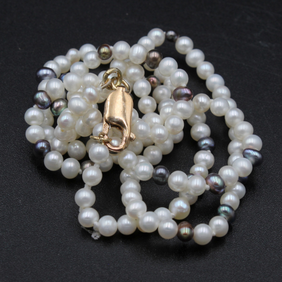 pearl necklace with gold lobster clasp