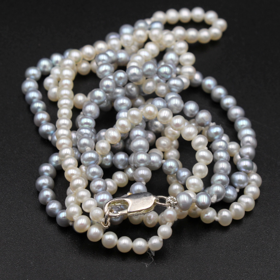 grey gray and white pearl necklace