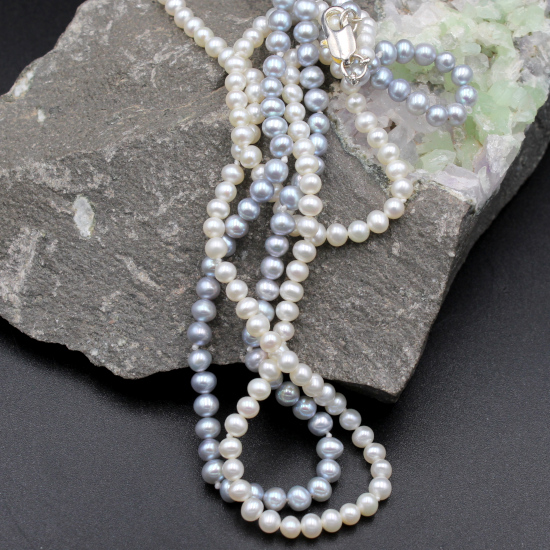 classic pearl double strung necklace with gold lobster clasp