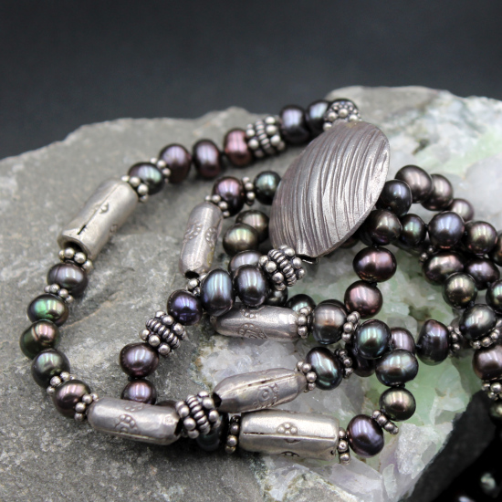 cultured silver pearls with thai silver barrel beads