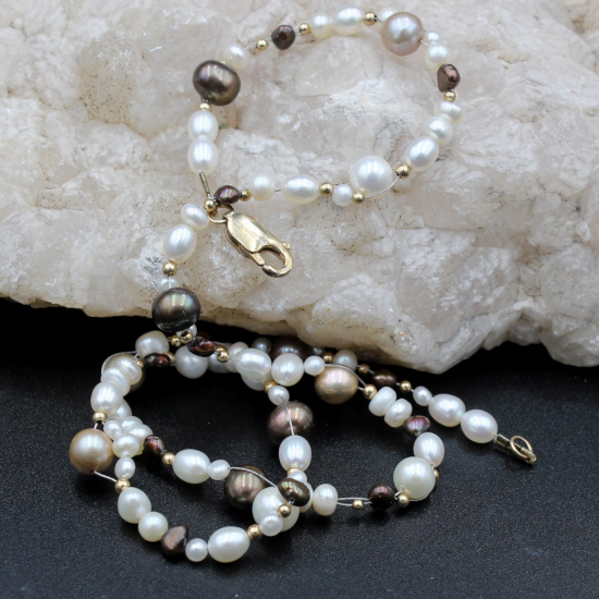 7mm cultured white and brown pearl necklace