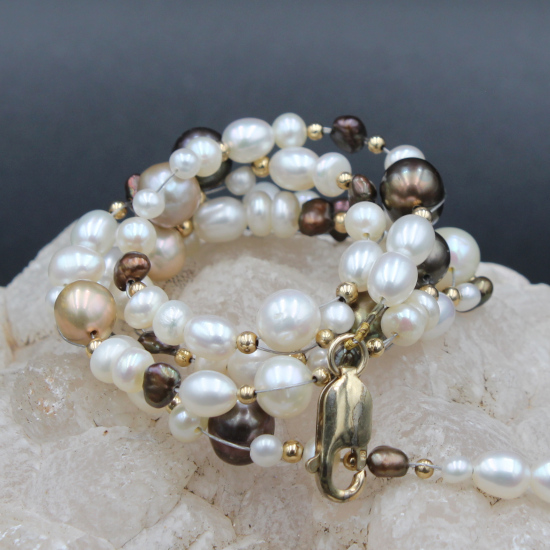 white and brown cultured pearl necklace with gold lobster clasp