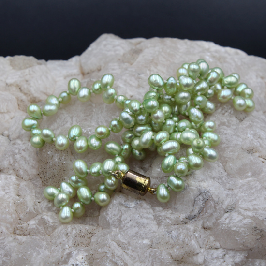 color enhanced green pearl necklace with rolled gold magnetic clasp