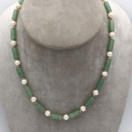 7mm pearl and aventurine necklace with gold spacers