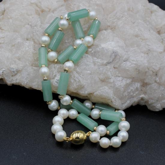 7mm cultured pearls with aventurine barrels