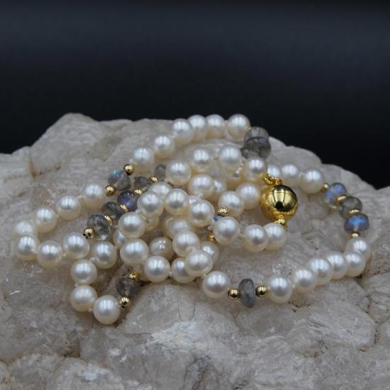 cultured pearls and labradorite necklace