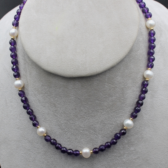 9mm pearl necklace with amethyst beads