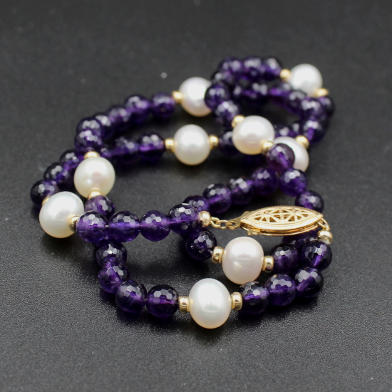 pearl and amethyst jewellery necklace with gold spacers and filigree clasp
