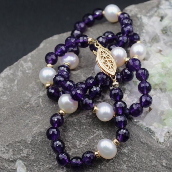 9mm white cultured pearl and faceted amethyst beads necklace jewelry