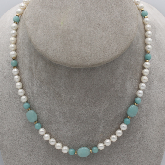 6mm cultured pearl and amazonite mani bead necklace with gold