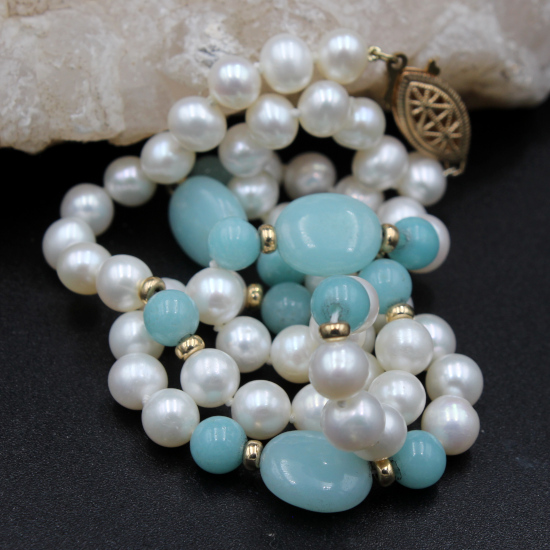 6mm cultured pearls and amazonite necklace