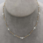 pearl aquamarine and gold necklace