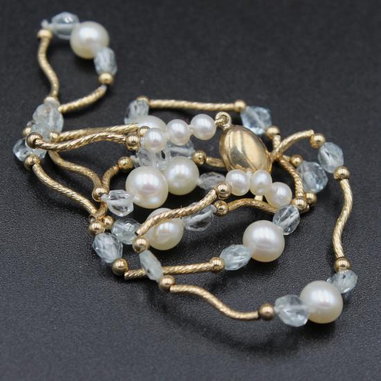 creamy cultured pearls and aqua necklace