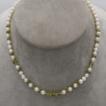 elegant pearl and peridot necklace