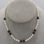 7mm cultured pearl and black onyx necklace