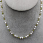 cultured pearl and peridot elegant necklace