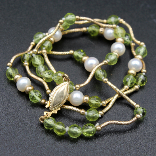 5mm cultured pearl and peridot unique stone jewels gold necklace