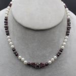 pearl and garnet jewellery necklace with Indian silver spacers