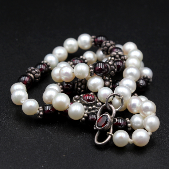 cultured pearl and rhododlite garnet unique jewelry necklace