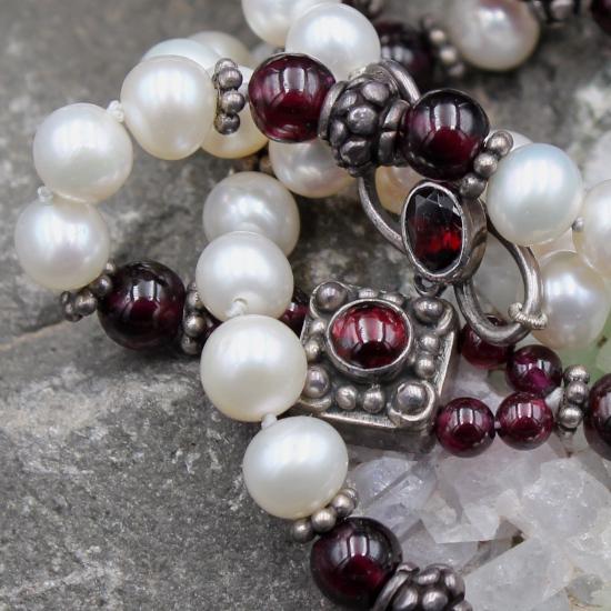 pearl and rhodolite garnet unique stone jewels necklace