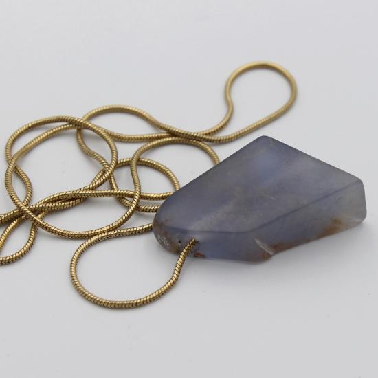 hand-cut blue chalcedony pendant jewelry